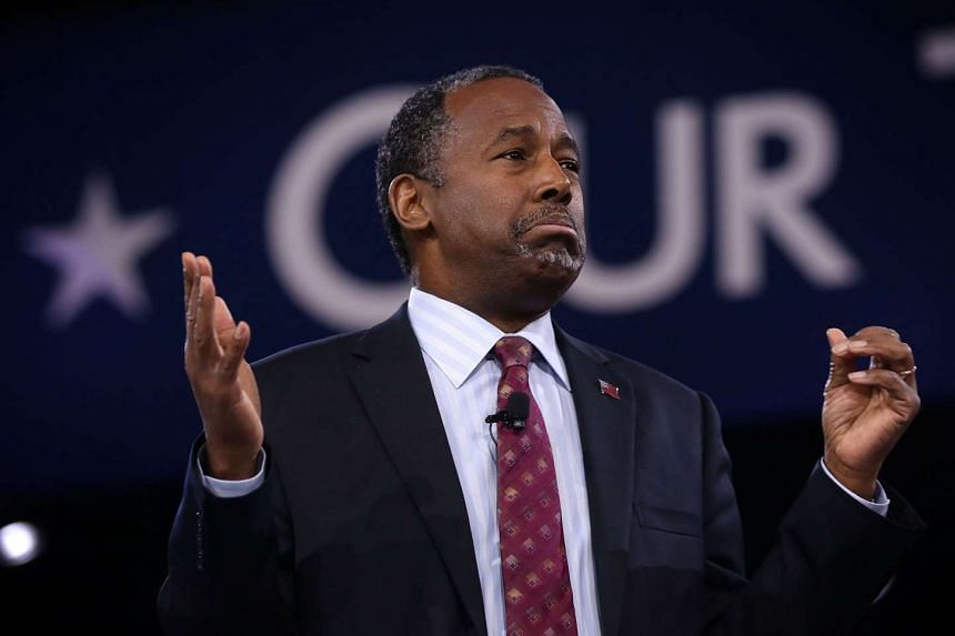 Republican presidential candidate Ben Carson speaking at the Conservative Political Action Conference in Maryland.