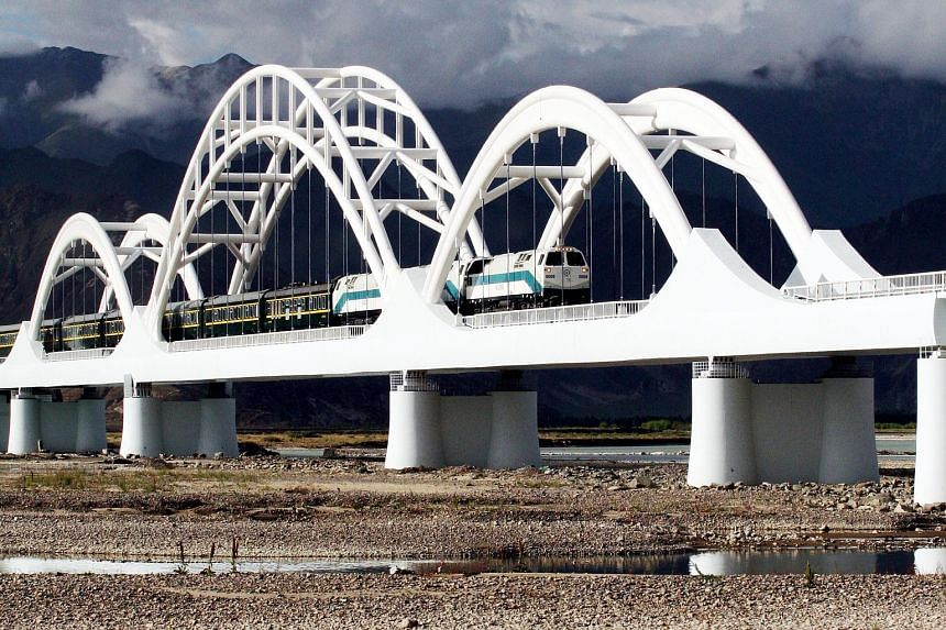 The railway to Lhasa which China opened in 2006.