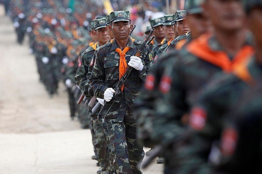 The question now is if the Myanmar military (above), guaranteed under the new Constitution to have 25 per cent of the seats in Parliament, will follow the example of the Indonesian generals and relinquish political privilege.