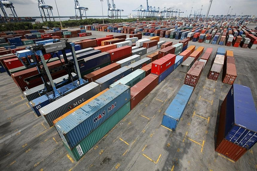 A container yard at North Port in Port Klang. January's trade surplus narrowed to RM5.39 billion (S$1.8 billion), pressured by falling oil and commodities prices as well as a strengthening ringgit in the first month of the year.