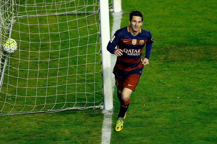 Barcelona star Lionel Messi wheeling away after scoring the first of his three goals against Rayo Vallecano in the Spanish La Liga on Thursday. With the 5-1 win, Barca are now eight points ahead of Atletico Madrid in the league and are 12 points in f