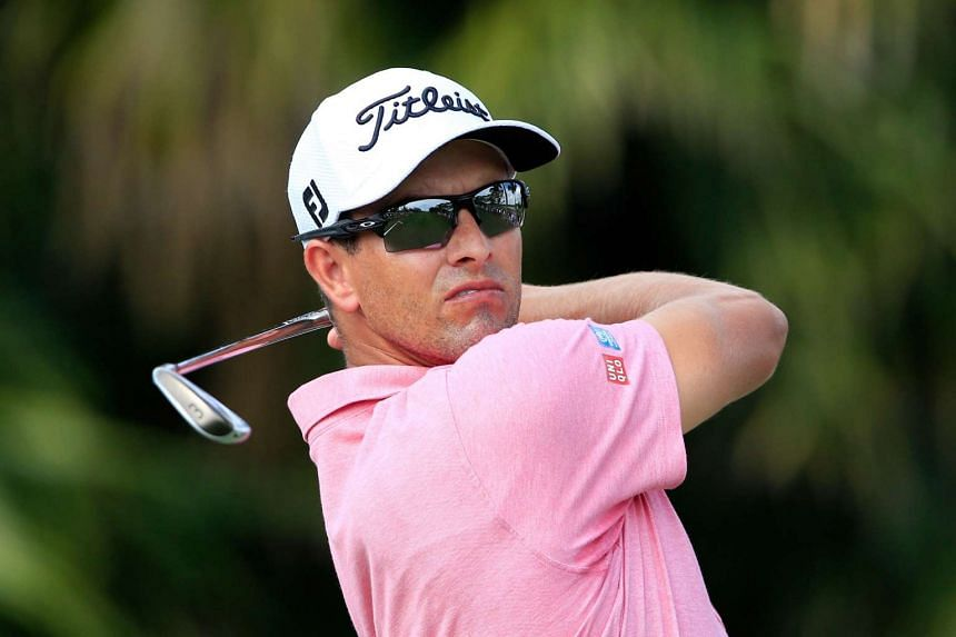 Australian Adam Scott teeing off during the second round of the Cadillac Championship in Doral, Florida, on March 4.