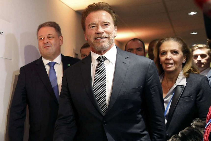 Schwarzenegger (centre), the former California governor and star of The Terminator, will campaign on Sunday for Kasich.