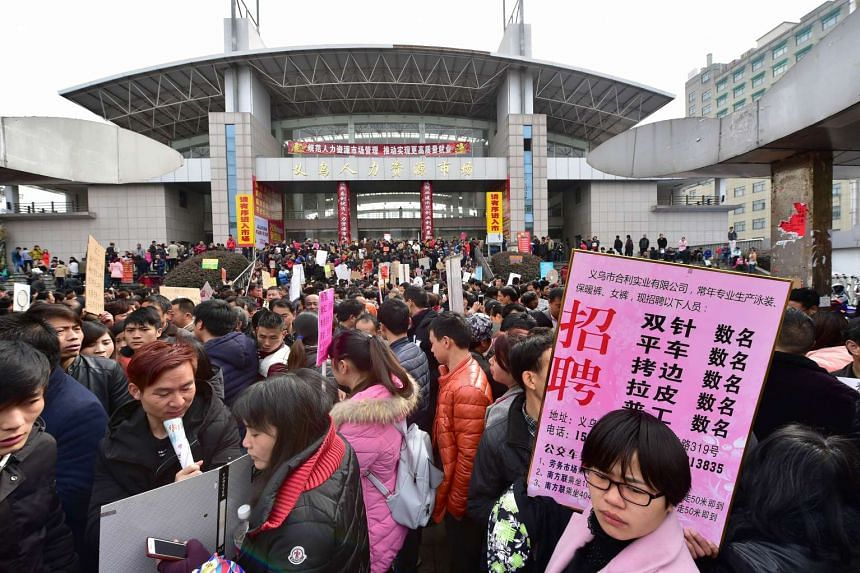 People at a job fair in Yiwu, China, on Feb 26.