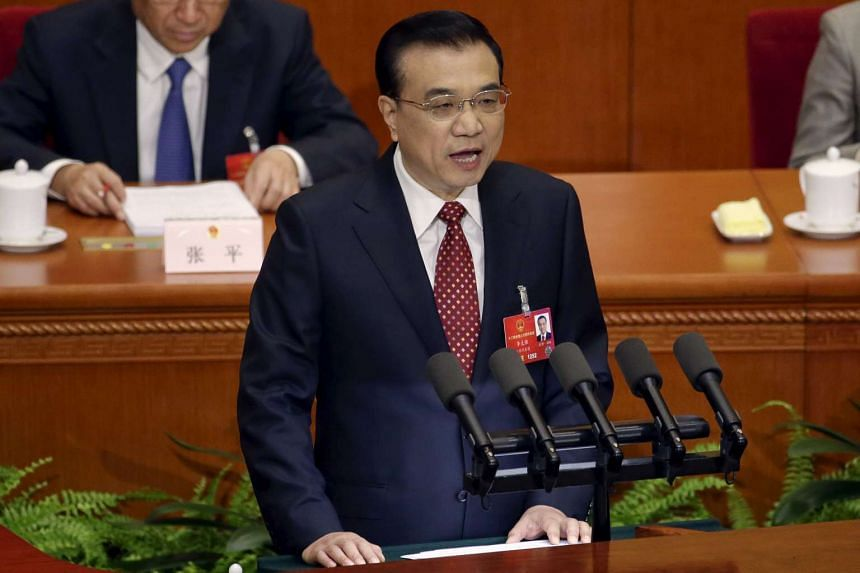 China's Premier Li Keqiang giving a speech during the opening session of the National People's Congress in Beijing, China, on March 5, 2016.