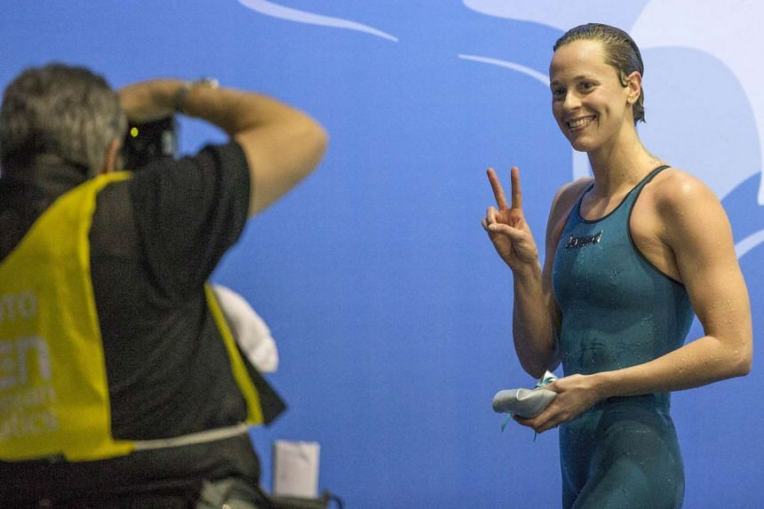 Italy's Federica Pellegrini gestures to photographers at an event in December, 2015.