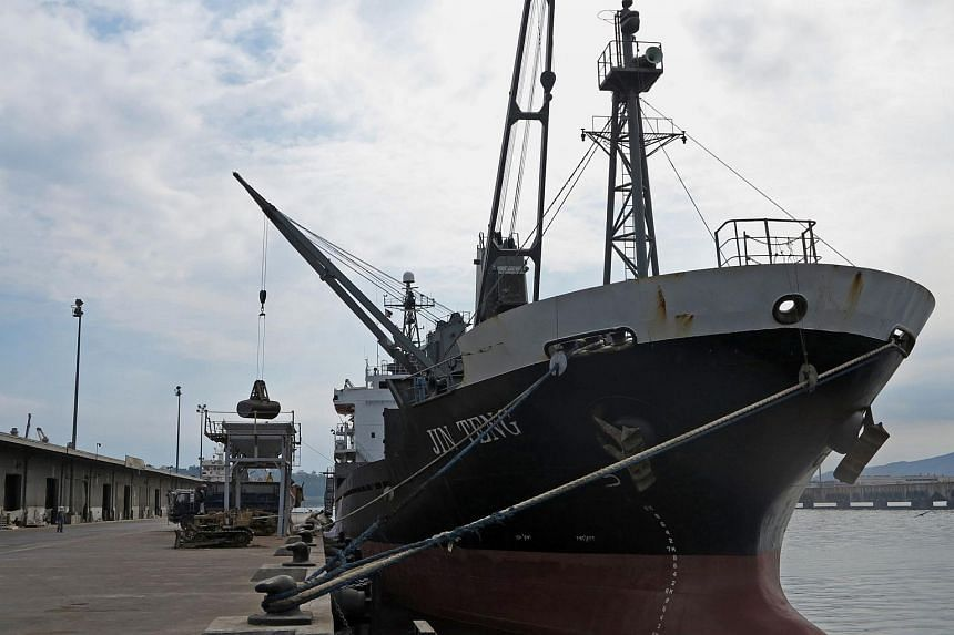 North Korean cargo ship Jin Teng anchored at Subic port on March 4.