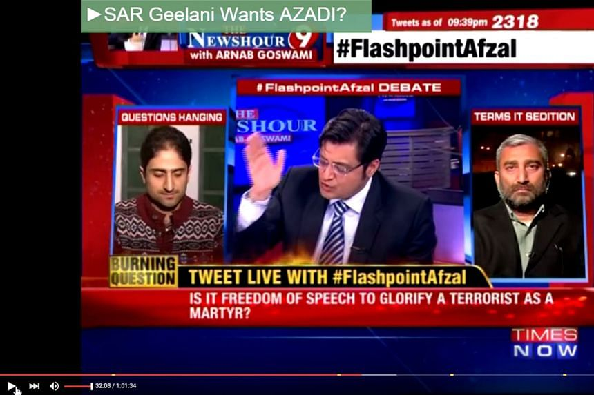 Times Now host Arnab Goswami moderating a Feb 10 televised debate, after three students were accused of shouting anti-national slogans at a meeting in support of Kashmiri separatist Afzal Guru. Times Now aired doctored footage of the meeting.