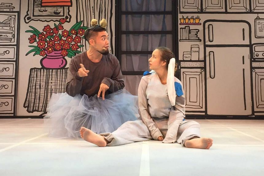 A rehearsal of Bunny Finds The Right Stuff, a show for children aged two to four. The Esplanade will relax house rules for the sensory-friendly edition of the theatre production on Monday.
