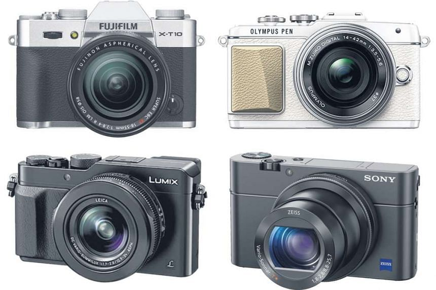 Mirrorless cameras that are ideal for beginners, and require not too much initial investment, include (top row, from left) the Fujifilm X-T10 and the Olympus Pen E-PL7. Good point-and-shoot night photography compact cameras include (bottom row, from