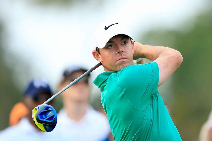 Rory McIlroy plays his tee shot on the par-four 17th hole during the third round of the World Golf Championships-Cadillac Championship at Doral.