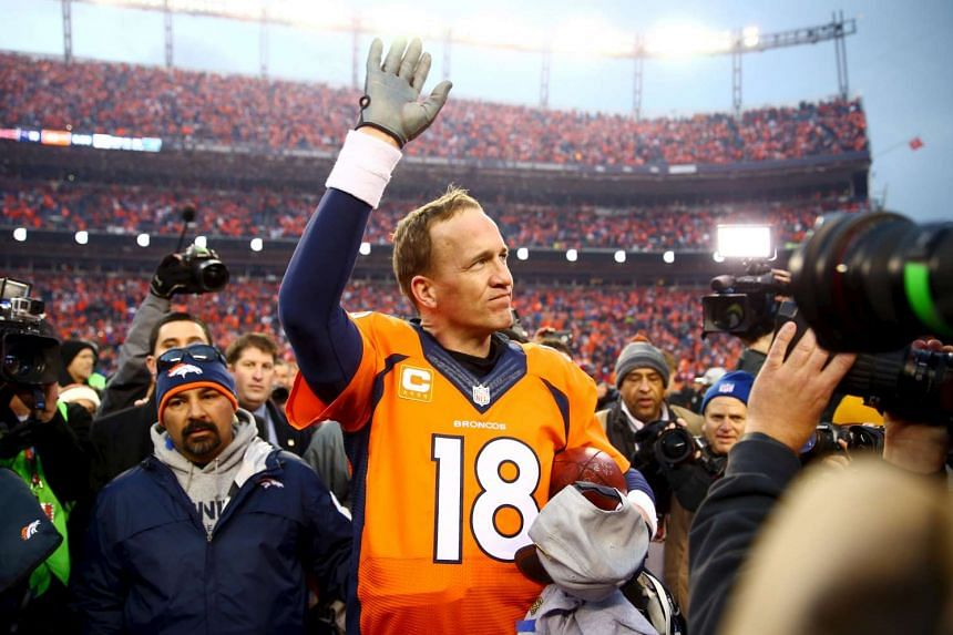 Denver Broncos quarterback Peyton Manning waves to the crowd after the AFC Championship game against the New England Patriots.