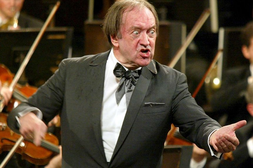 Nikolaus Harnoncourt conducting the New Year's concert of the Vienna Philharmonics in Austria on Jan 1, 2003.