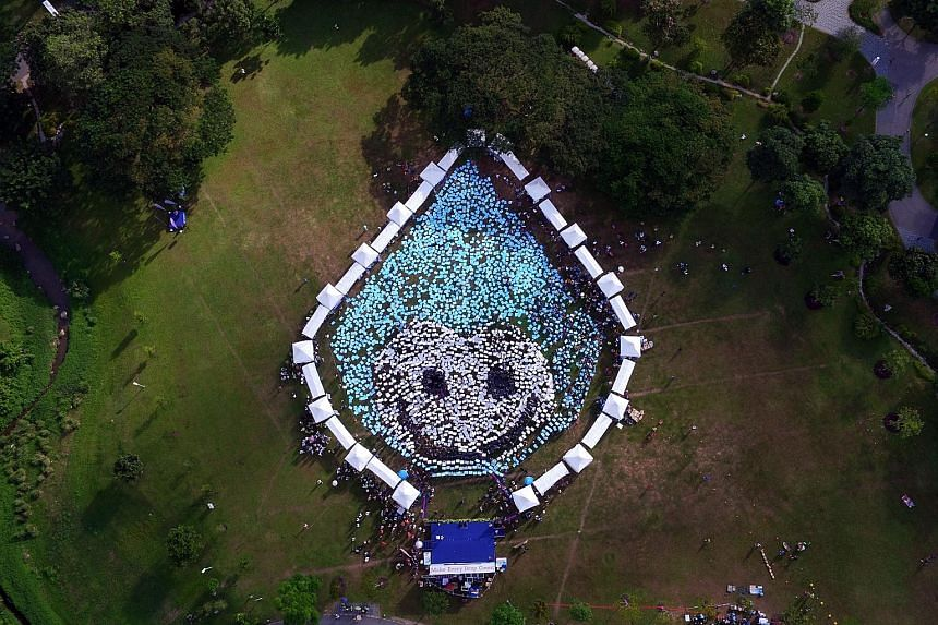 Aerial view of Water Wally, the mascot of national water agency PUB, at the launch of the Singapore World Water Day celebrations at Kallang River @ Bishan-Ang Mo Kio Park yesterday.
