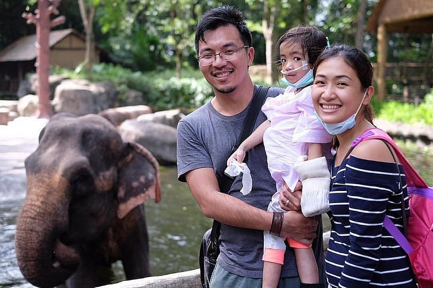 Caitlin visited the zoo with her parents last Thursday after being allowed out of the hospital for an afternoon. Her illness first surfaced as insect bites on her ankle last September.