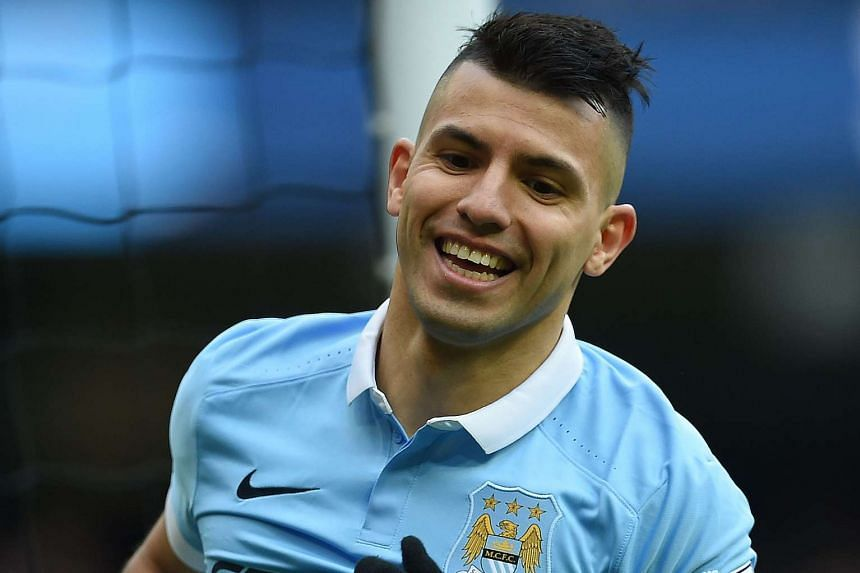 Argentinian striker Sergio Aguero celebrates scoring his team's second goal.