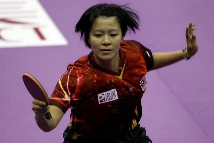 Malaysia's Ng Sock Khim in action against Taiwan at the World Team Table Tennis Championships in Shah Alam , Malaysia.