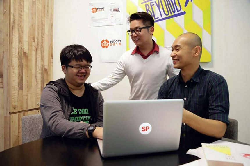 Singapore Polytechnic student Toh Ping Huang (left), 20, is the designer for the Budget 2016 logo.