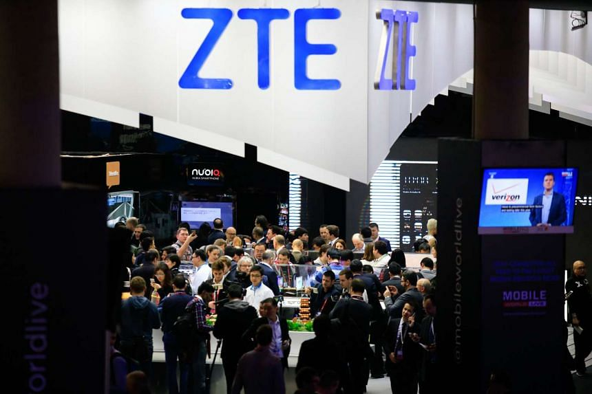 ZTE products on display at the Mobile World Congress in Barcelona, Spain on Feb 22, 2016.