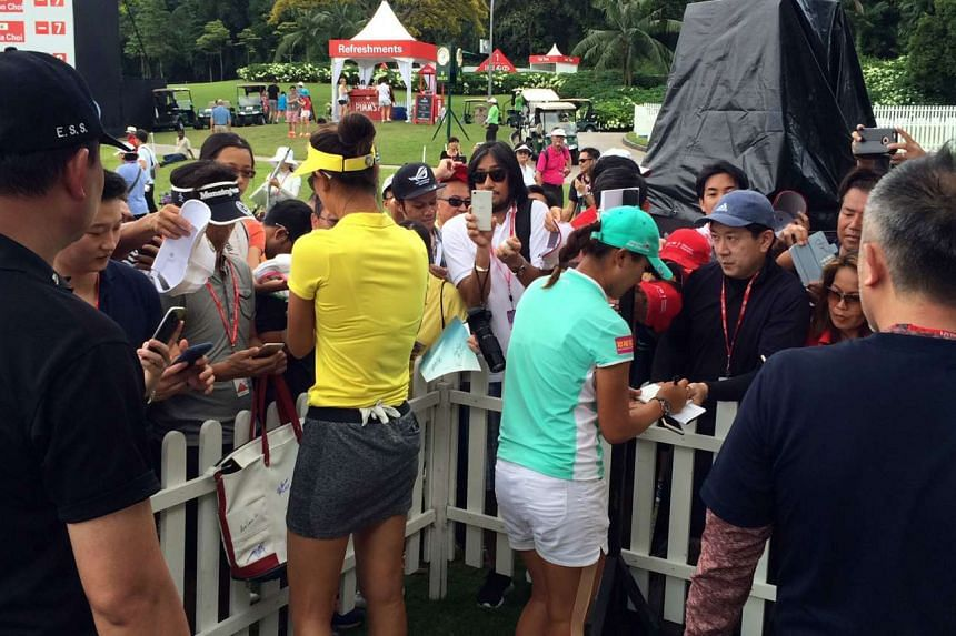 American star Michelle Wee (in yellow) and world No. 1 Lydia Ko had disappointing outings in Singapore but were still a big hit with their fans.