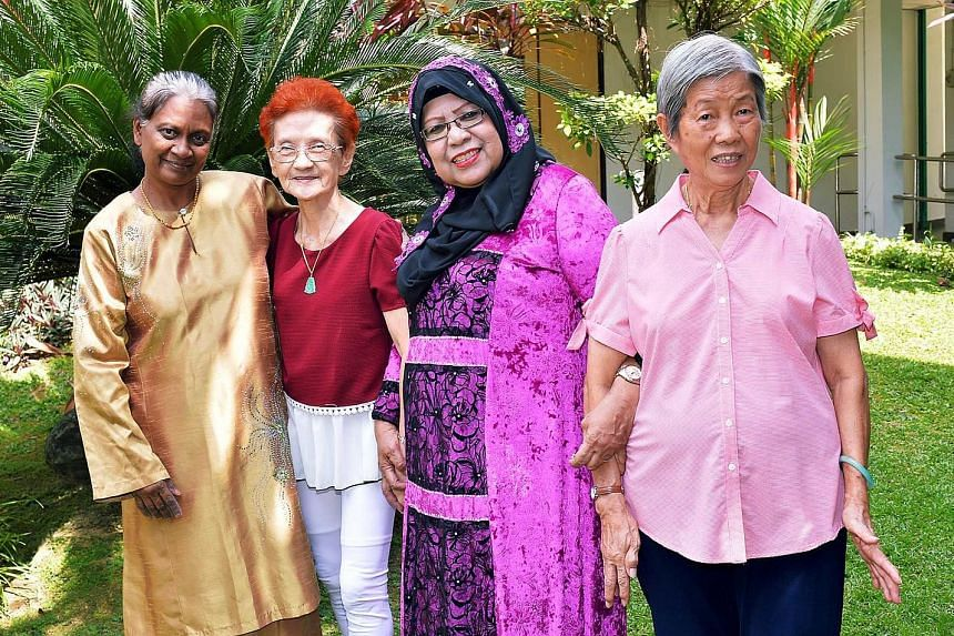 (From left) Madam Hajira Bee Idroos, 62, Ms Tng Noi Kee, 76, Madam Jainah Awang, 67, and Madam Chong Kiaw, 79, won the Most Outstanding Woman award, which recognises ordinary women who excel in various areas.