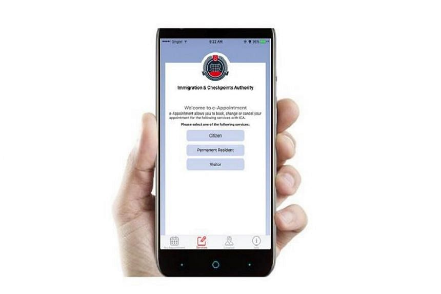 The home page of the eAPPT@ICA app displayed on a mobile phone.