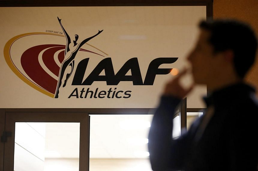 A view shows the logo at the The International Association of Athletics Federations (IAAF) headquarters in Monaco, on Jan 14, 2016.