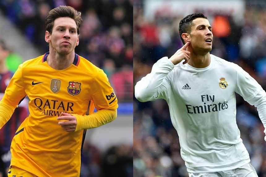 Lionel Messi (left) of Barcelona and Cristiano Ronaldo of Real Madrid.