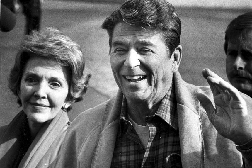 Then-President Ronald Reagan and first lady Nancy Reagan at the White House on Feb 15, 1982.