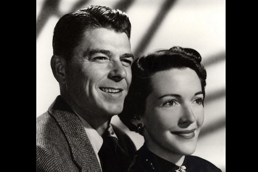 The formal engagement photograph of Ronald Reagan and Nancy Davis shows the couple in 1952.