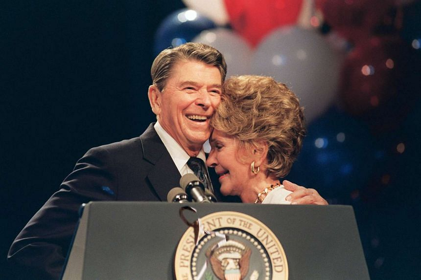 US First Lady Nancy Reagan and her husband, US President Ronald Reagan, at a luncheon in New Orleans on Aug 15, 1988 honouring her for her work to combat drug abuse.