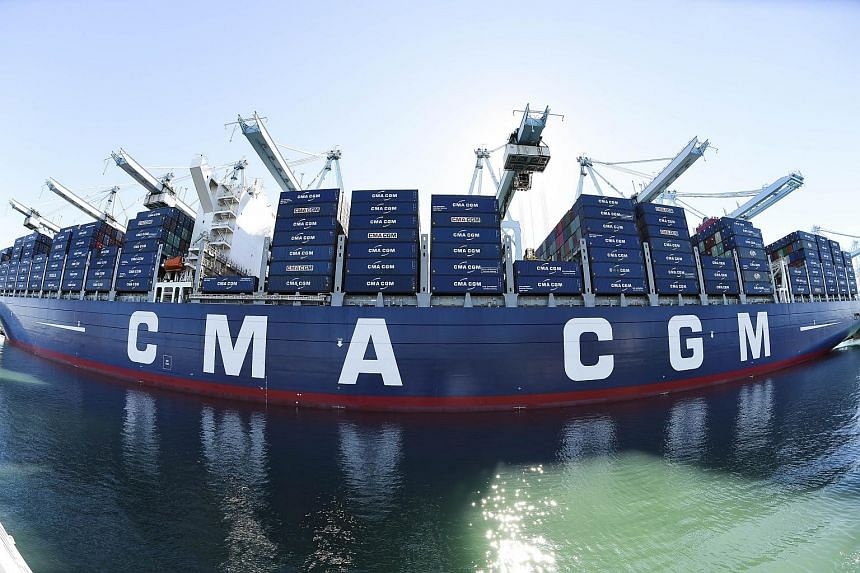 The CMA CGM Benjamin Franklin container ship at the Port of Los Angeles.