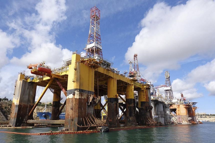 Three  oil and gas rigs owned by Transocean Ltd in Valletta.