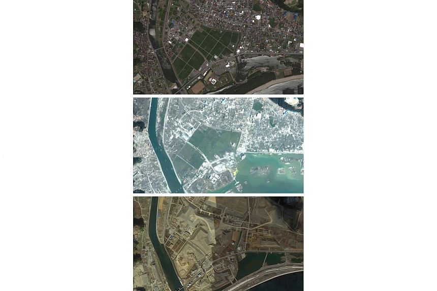 Satellite images of the town of Otsuchi, Iwate prefecture on July 22, 2010 (top), on March 13, 2011 (centre), two days after the tsunami, and on Feb 2, 2016 (bottom), nearly five years after.