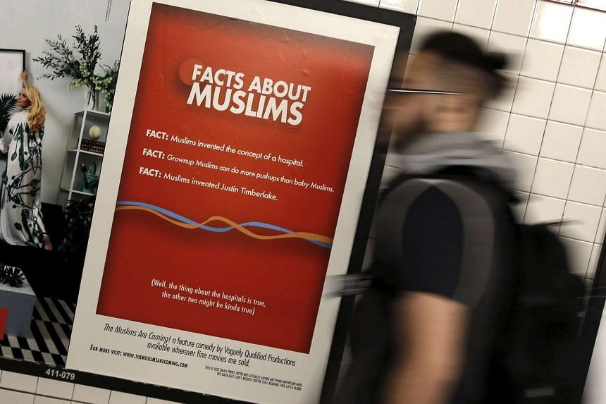 A poster promoting the new documentary The Muslims Are Coming inside the City Hall subway station in New York on March 7.
