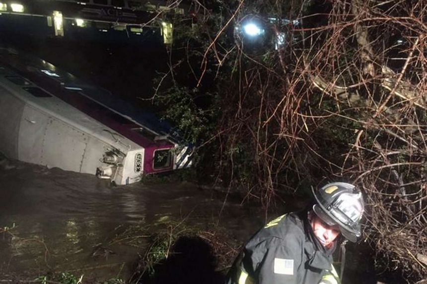 Rescue operations at the site of a train derailment in Sunol, California on March 7, 2016.