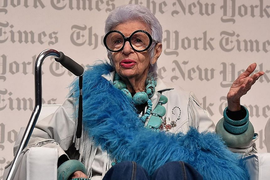 Interior designer Iris Apfel has been a fixture at Paris fashion shows for almost 50 years.