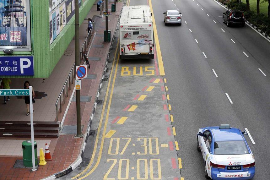 A bus lane on Eu Tong Sen Street in 2014.