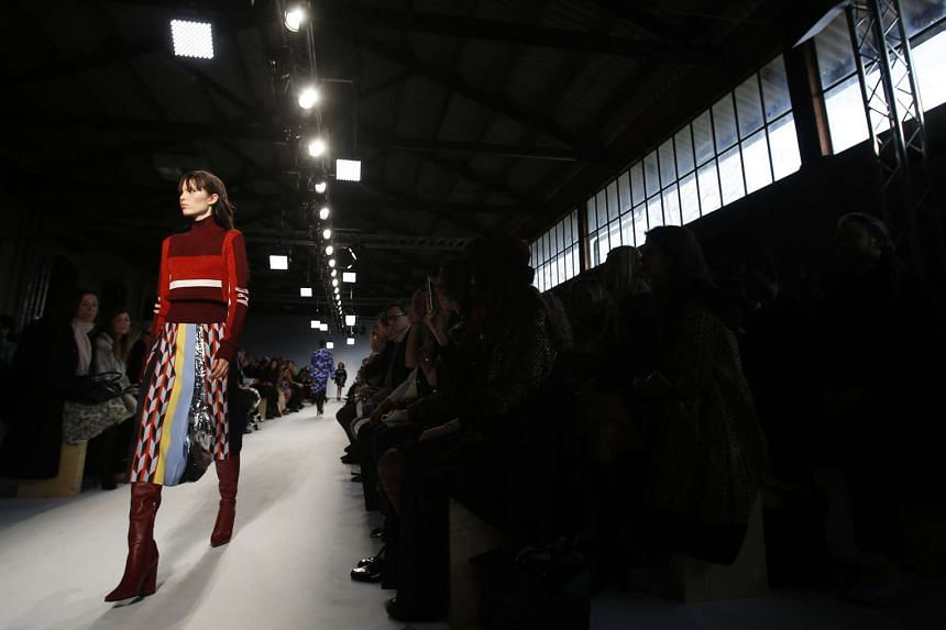A model presents a creation from the Emilio Pucci Autumn/Winter 2016 collection on Feb 25, 2016.