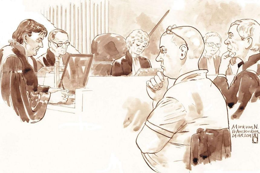 A court sketch made on Oct 24, 2014 shows Dutch dentist Mark van Nierop, suspected of mutilating patients, in a court in Amsterdam.