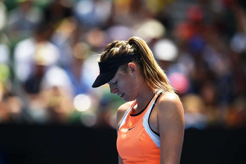 Maria Sharapova of Russia reacts during her  Australian Open 2016 match against Serena Williams.