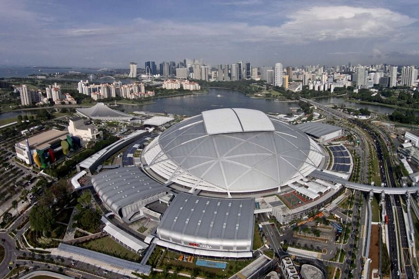 Aerial view of the Singapore Sports Hub.