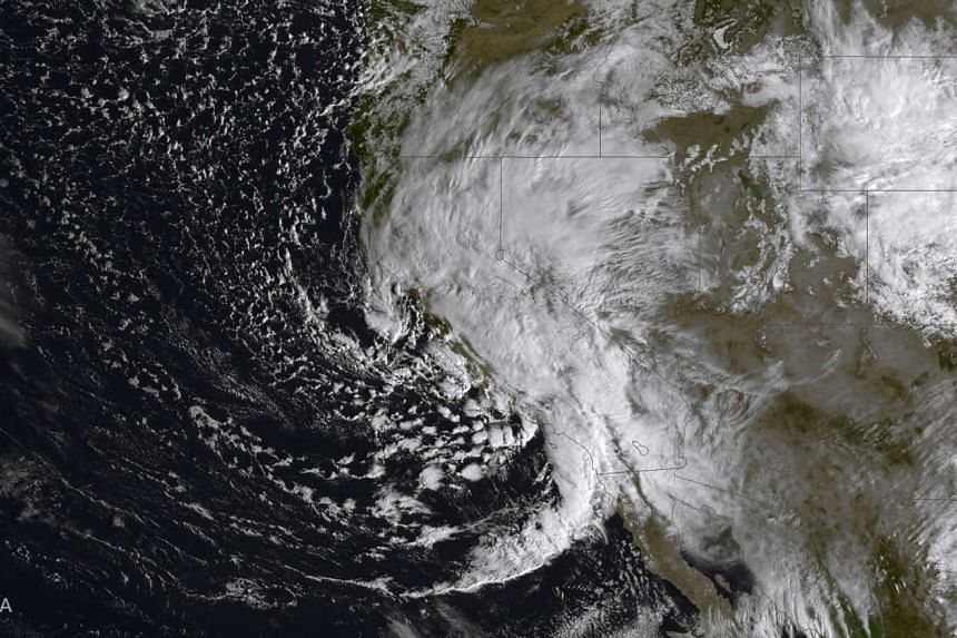 A satellite image of the thunderstorm which knocked out power across LAX.
