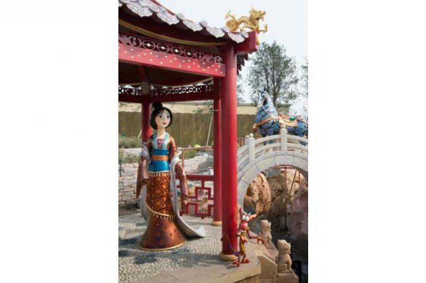 A statue of Mulan at the Crystal Grotto in Fantasyland at Shanghai Disneyland.