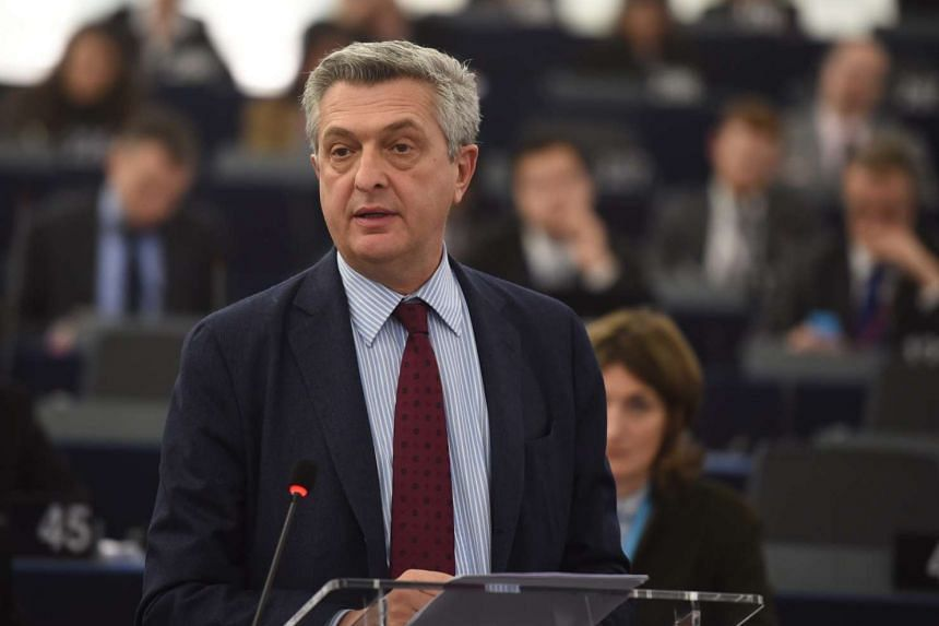 UN High Commissioner for Refugees Filippo Grandi delivers his speech during a plenary session at the European Parliament in Strasbourg, France, on March 8, 2016.