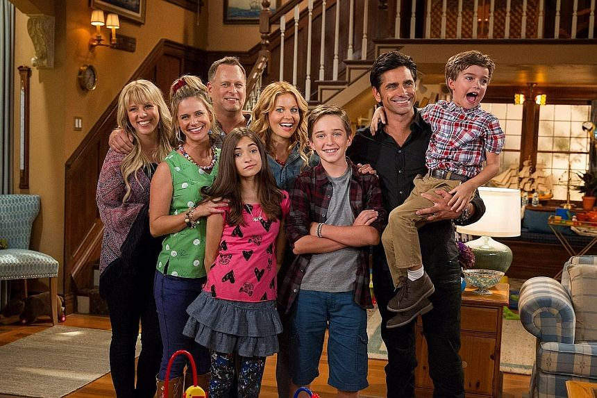 Sitcom Fuller House (above) debuted on streaming service Netflix last month. It is a continuation of Full House, which ran from 1987 to 1995.