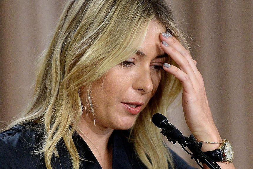 Sharapova announcing she had failed a drug test at the Australian Open, during a briefing in Los Angeles on Monday. She said her family doctor had been giving her meldonium for 10 years for various health issues.
