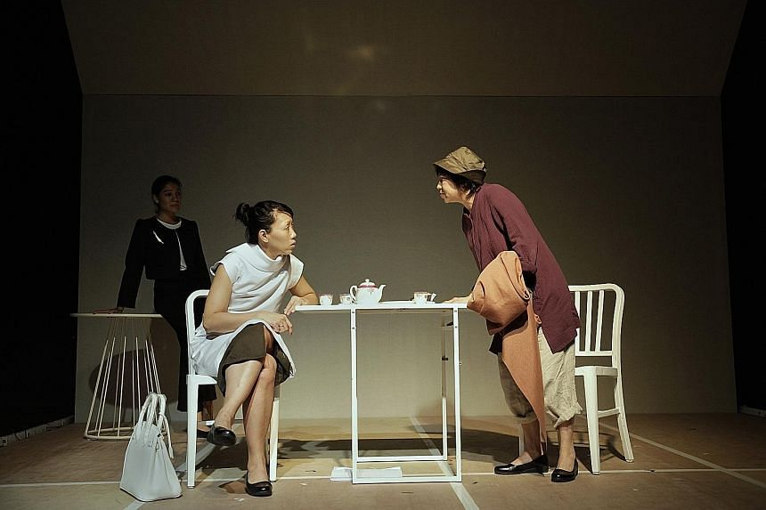 From left, actresses Sharda Harrison, Koh Wan Ching and Goh Guat Kian in a rehearsal for Manifesto, which has an R18 rating.