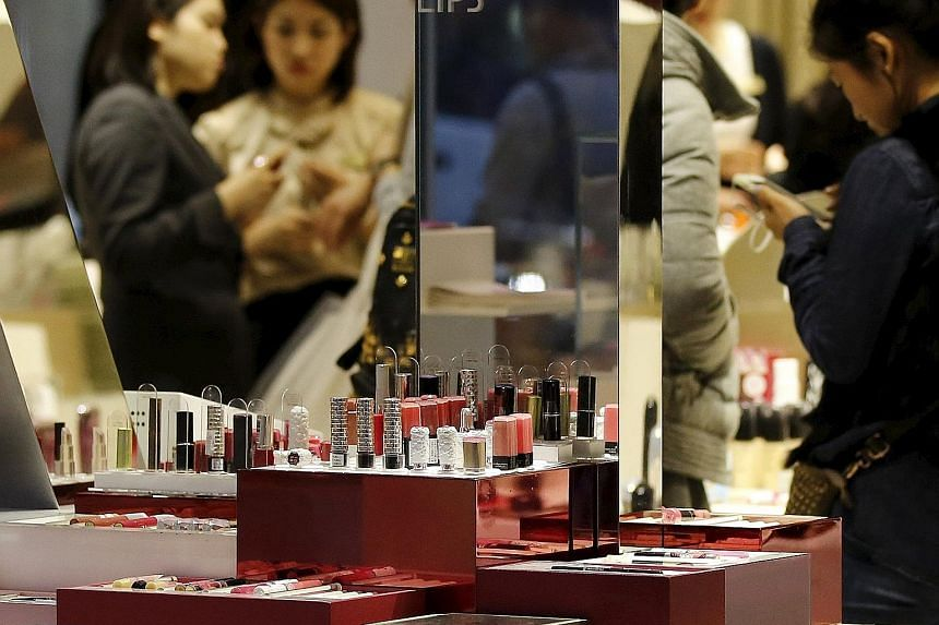 Lipsticks at a Shiseido store in Tokyo. As optimism about a recovery in Japan's economy fades, sales are shifting from hot red hues to shades closer to natural Japanese lip colour.