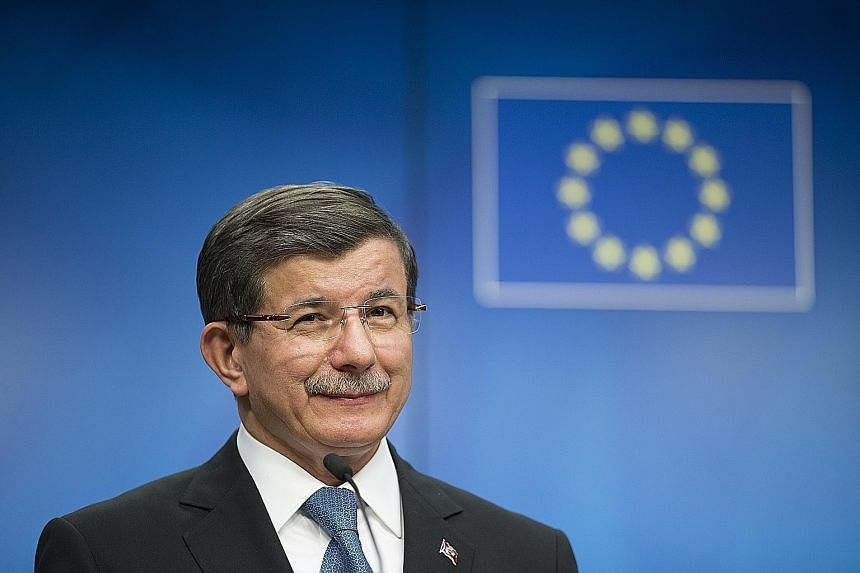 In return for taking in illegal migrants who land on Greek islands, Mr Davutoglu wants an extra three billion euros (S$4.6 billion) in aid and visa-free travel for Turks to the bloc by June.